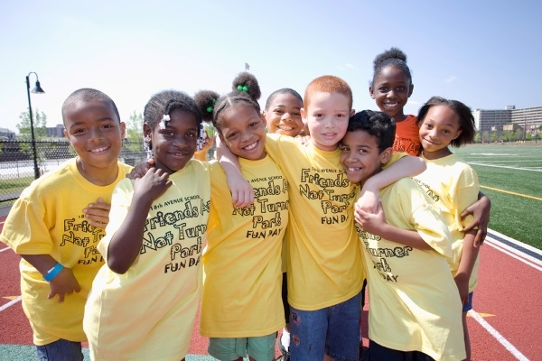 School children enjoying Nat Turner Park Fun Day in Newark at its 2010 opening.