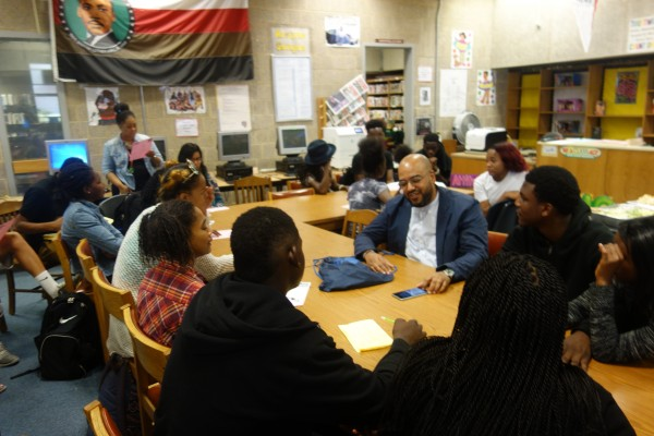 Poet Roberto Carlos Garcia visiting students at Malcolm X Shabazz High School in 2016.