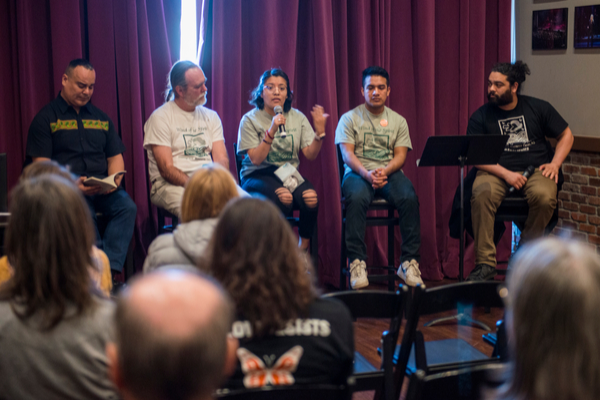 "Wind of the Spirit discussing ""Poetry and Democracy,"" March 2019. Photo by Alex Towle Photography."